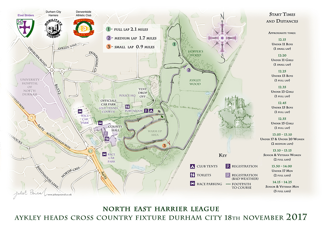 Aykley Heads course map courtesy of Jules Percival