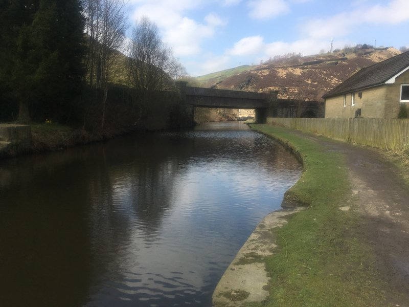 A brief flat section alongside the canal in Todmorden