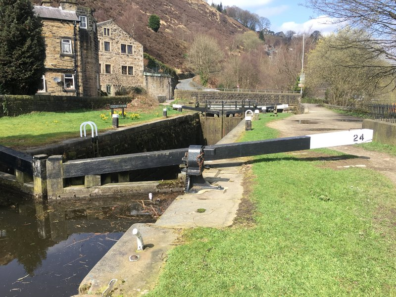A brief flat section alongside the canal locks in Todmorden