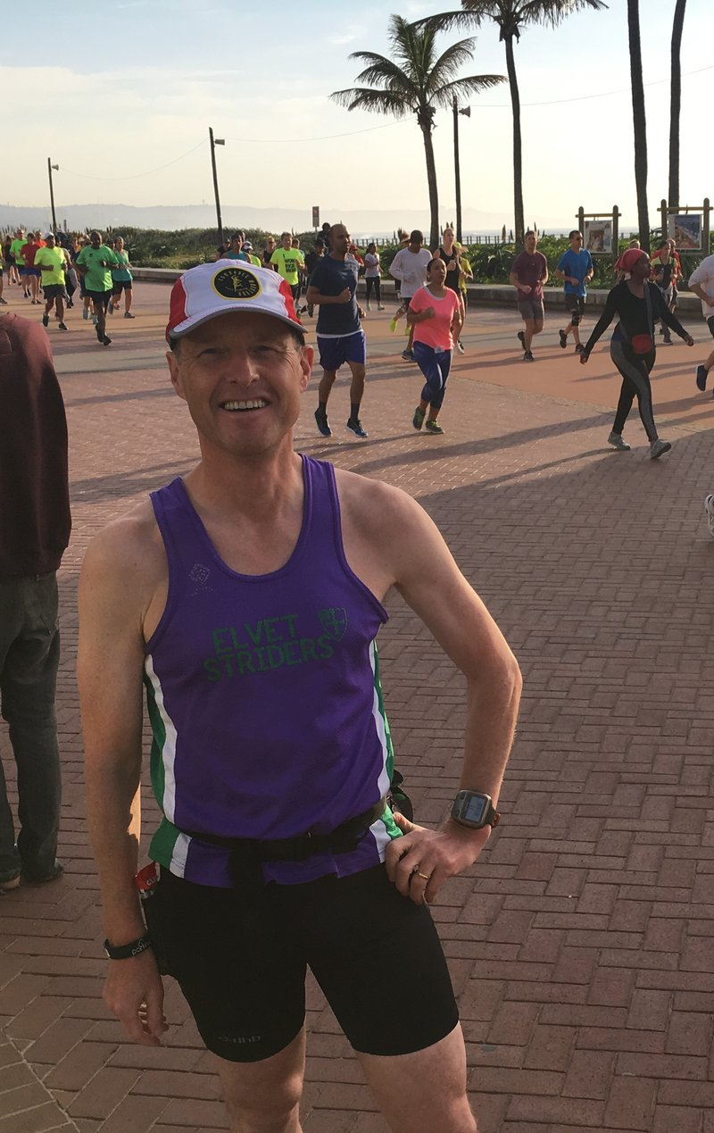 Stopping for a photo breather during the Durban parkrun